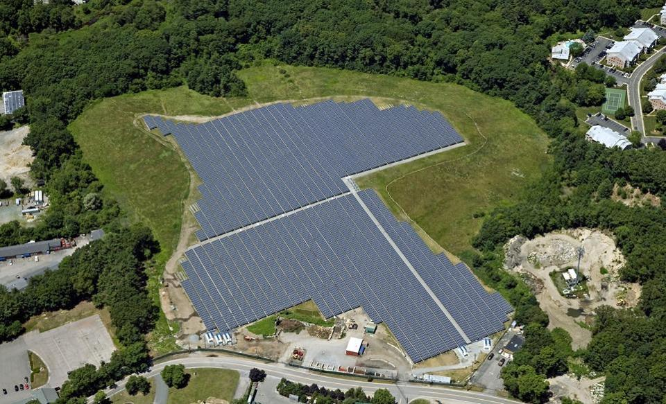 One of the largest solar farms in New England is operating in Canton. The 5.6-megawatt facility includes nearly 20,000 solar panels on 15.5 acres on the town's capped landfill site.